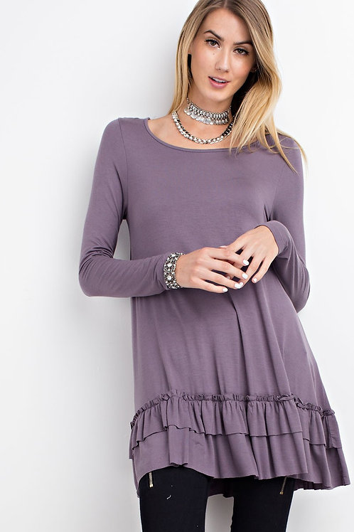 RUFFLE TUNIC-PURPLE TAUPE