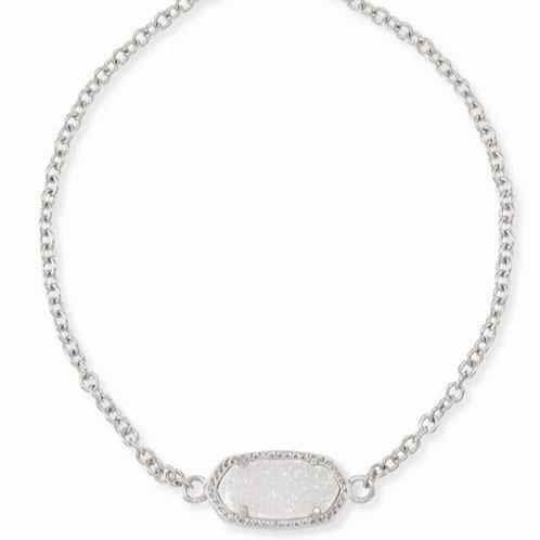 Elaina Silver Adjustable Chain Bracelet In Iridescent Drusy