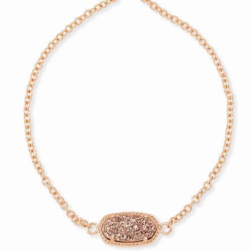 Elaina Rose Gold Adjustable Chain Bracelet In Rose Gold Drusy