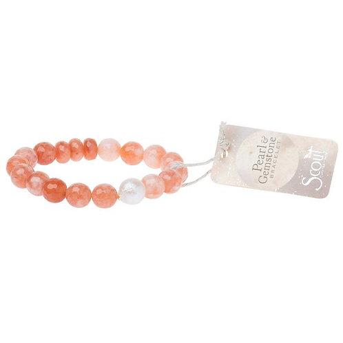 Pearl & Gemstone Bracelet - Pink Agate