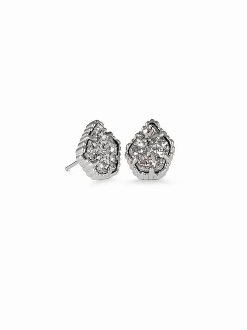 Tessa Silver Stud Earrings In Platinum Drusy