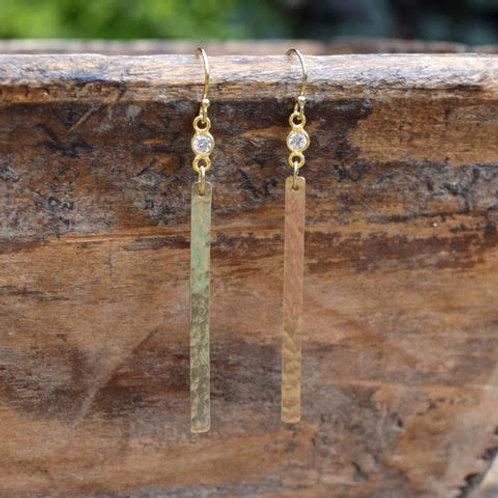 RHINESTONE BEZEL & HAMMERED GOLD VERMEIL BAR EARRINGS