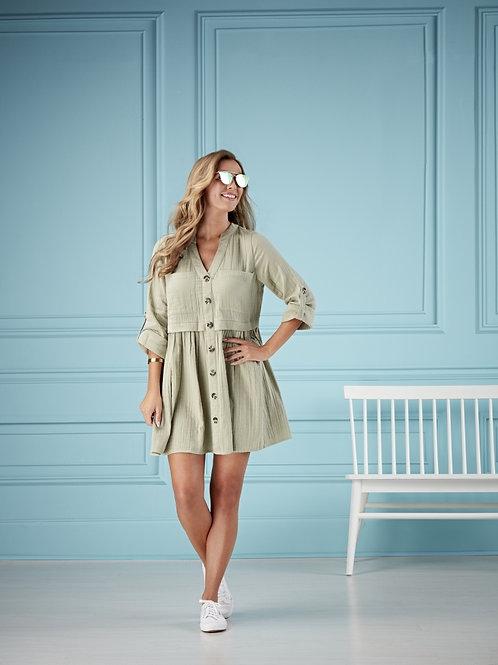 Addison Button Up Dress-Sage