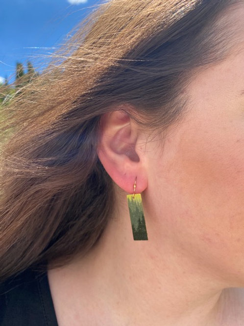 Gold Layered Tree Rectangle Earring