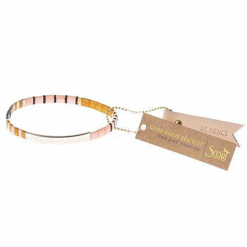 Good Karma Miyuki Bracelet | Be Fierce - Pink/Mustard/Silver