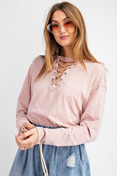 MINERAL WASHED LACED UP FRONT KNIT TOP-ROSE