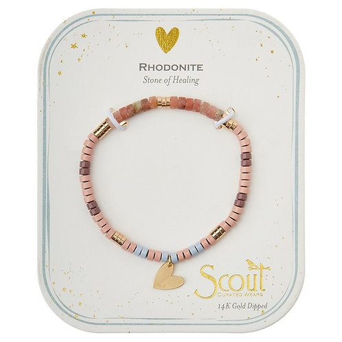 Stone Intention Charm Bracelet - Rhodonite/Gold