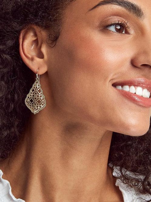 Addie Drop Earrings-Rhodium Filigree