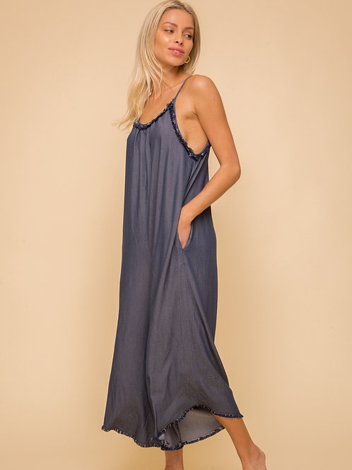 CHAMBRAY WIDE LEG CAMI JUMPSUIT