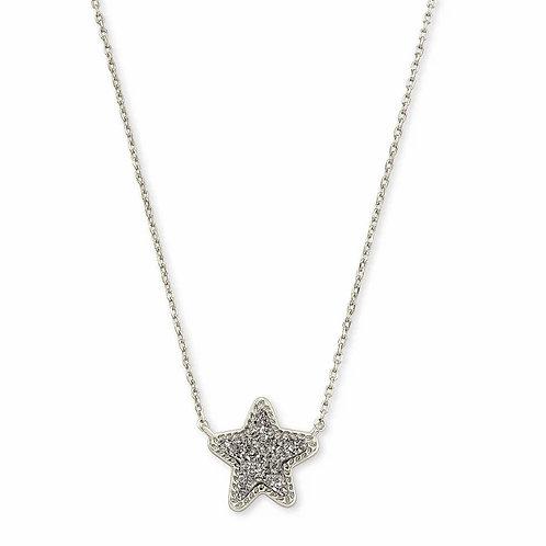 Jae Star Silver Pendant Necklace In Platinum Drusy