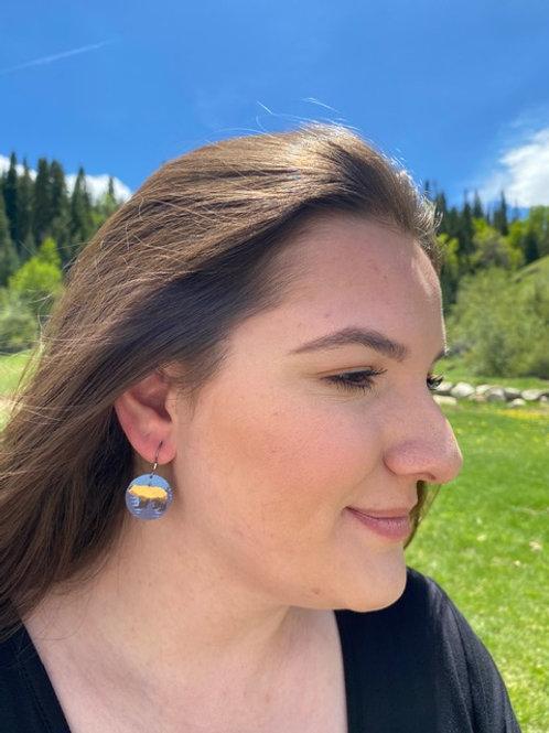 Bear Landscape Disc Earrings