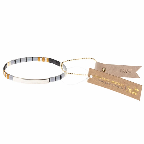 Good Karma Miyuki Bracelet | Brave - Gray/Black/Silver