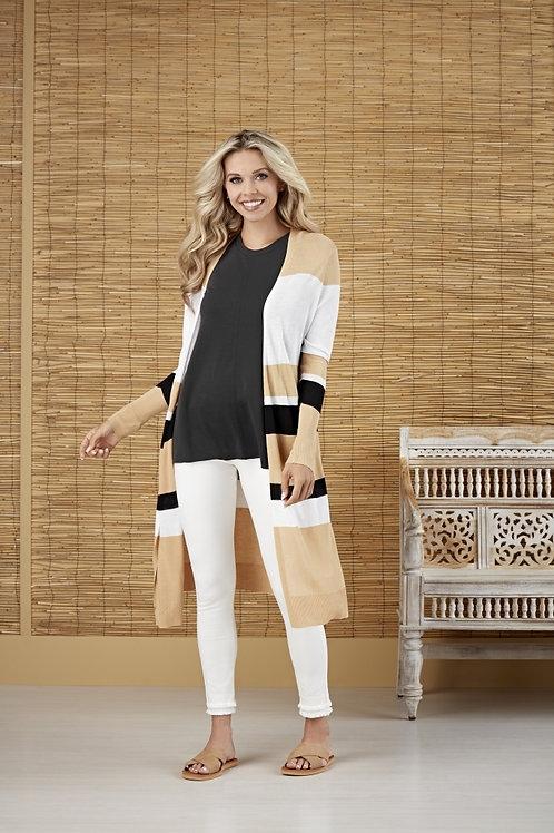 Beau Striped Cardigan-Tan Stripe