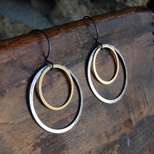 HAMMERED PEWTER & MATTE GOLD HOOP EARRINGS