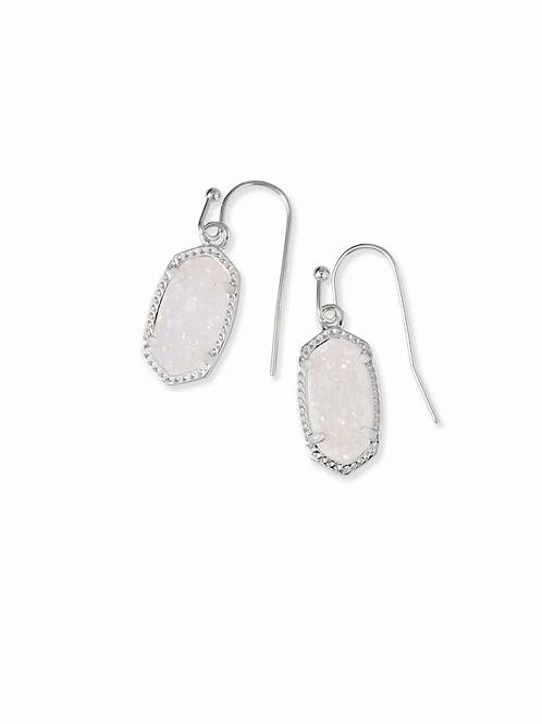 Lee Silver Drop Earrings In Iridescent Drusy