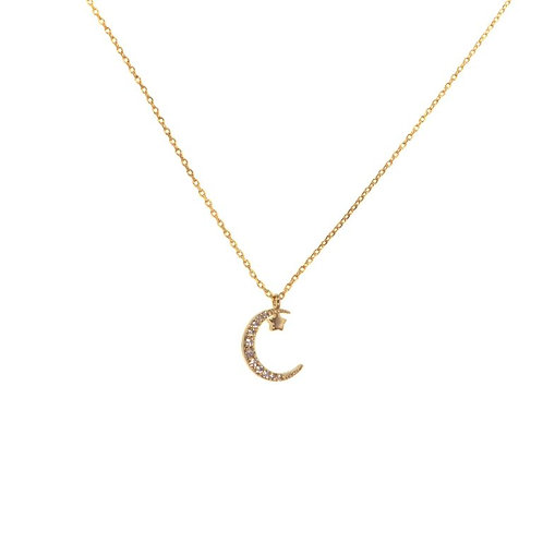Pave Moon and Star Necklace