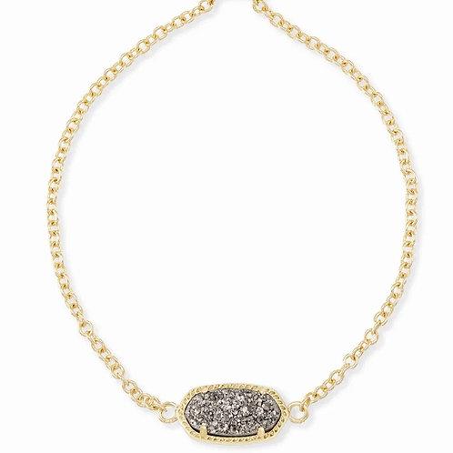 Elaina Gold Adjustable Chain Bracelet In Platinum Drusy