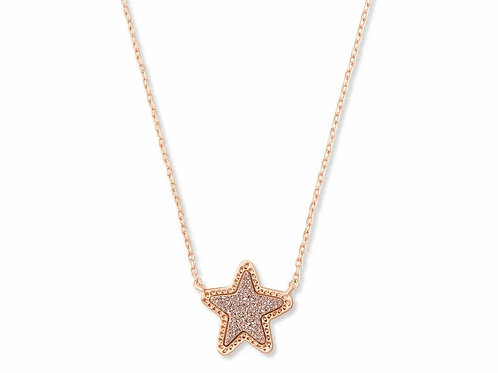 Jae Star Rose Gold Pendant Necklace In Rose Gold Drusy