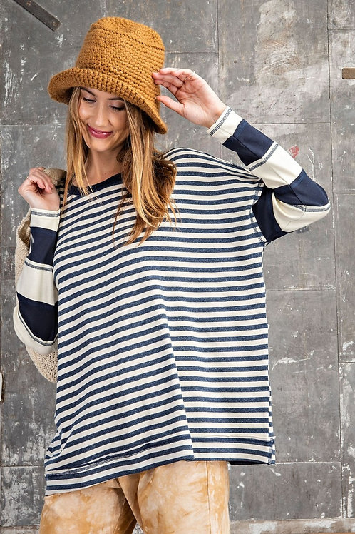 LONG SLEEVE STRIPED PULLOVER TOP-NAVY