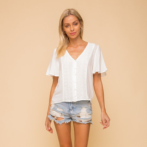 LACE TRIMMED SHORT SLEEVE BLOUSE TOP
