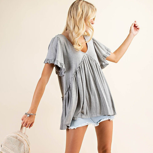 RUFFLE JERSEY TOP-GREY