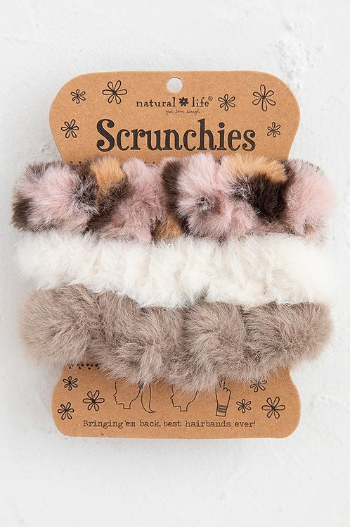 Tan Cream Set of 3 Fuzzy Scrunchies
