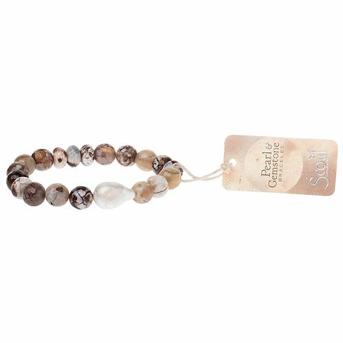 Pearl & Gemstone Bracelet - Mauve Agate