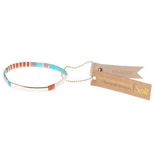 Good Karma Miyuki Bracelet | Gratitude - Turquoise/Orange/Silver