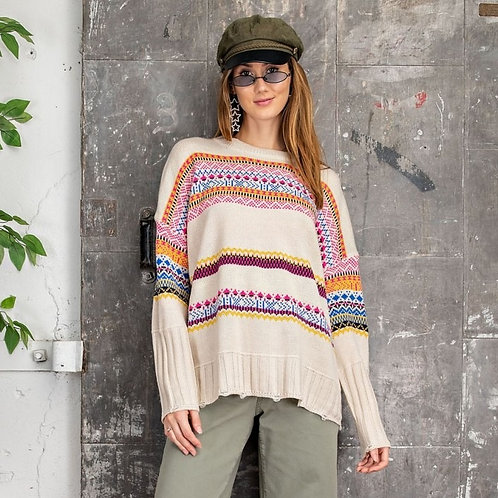 BOHO TRIBE INSPIRED SWEATER KNIT PULLOVER