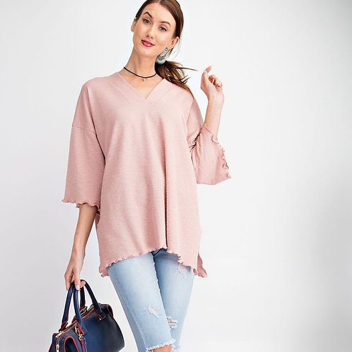 DOUBLE V NECK TOP-ROSE