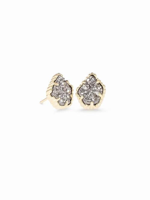 Tessa Stud Earrings In Gold Platinum Drusy
