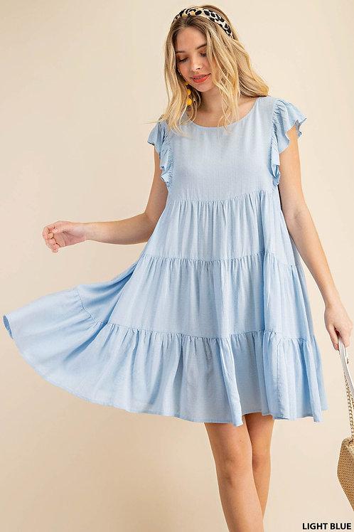 BABY BLUE CAP SLEEVE DRESS