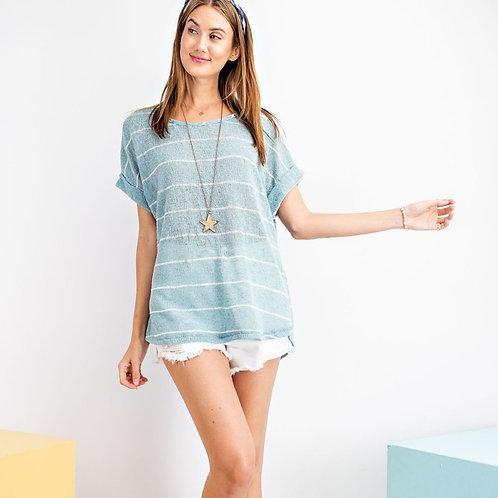Stripe Knit Short Sleeve Top