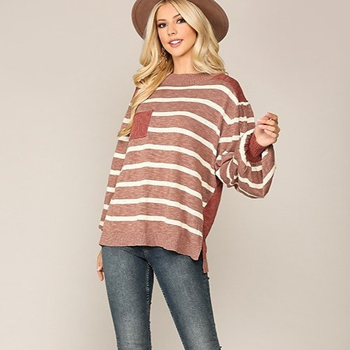Striped Sweater with Pocket