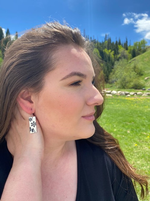 Snowflakes and Mountains Rectangle Earrings