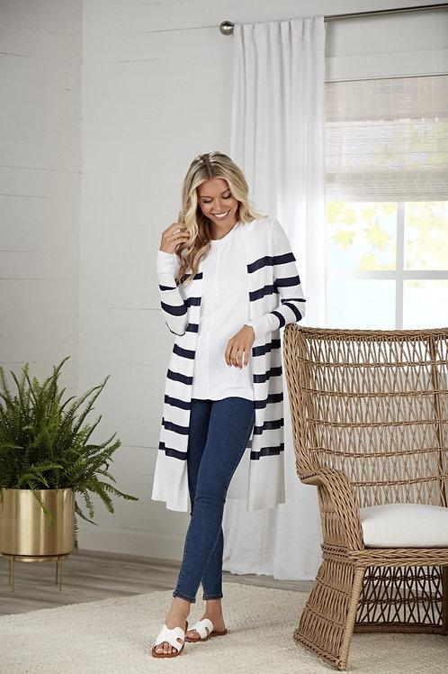 Beau Striped Cardigan-White Stripe