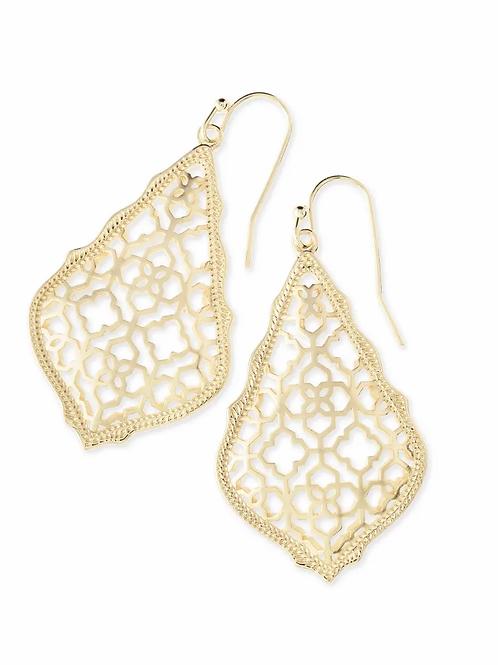 Addie Drop Earrings-Gold Filigree