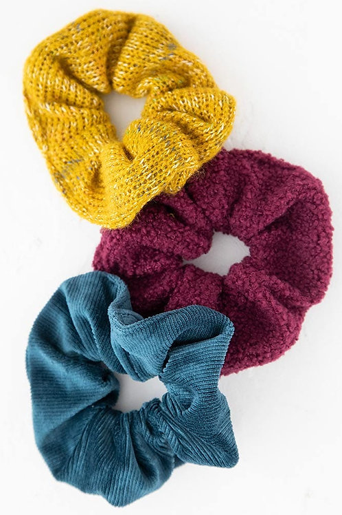Mustard Blue Set of 3 Cozy Scrunchies