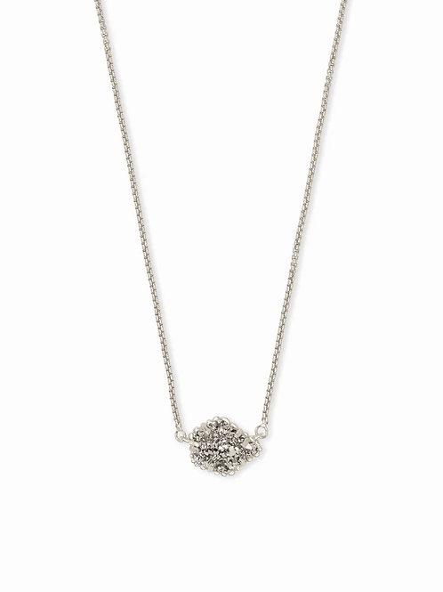 Tess Silver Pendant Necklace In Platinum Drusy