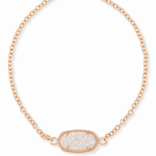 Elaina Rose Gold Adjustable Chain Bracelet In Iridescent Drusy