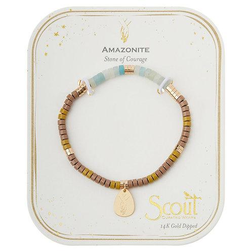 Stone Intention Charm Bracelet - Amazonite/Gold