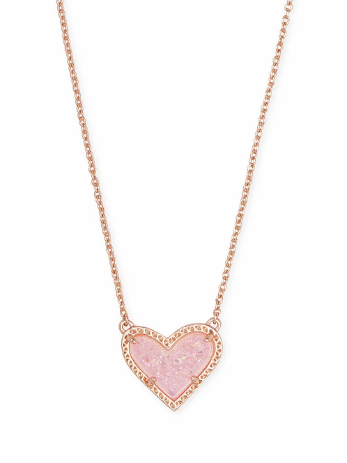 Ari Heart Rose Gold Pendant Necklace In Light Pink Drusy