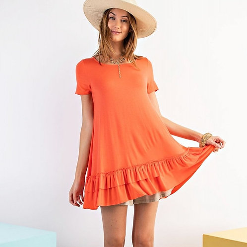 LOOSE FIT RUFFLE TUNIC-HOT CORAL