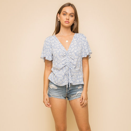 FLORAL PRINT RUCHED FRONT TOP