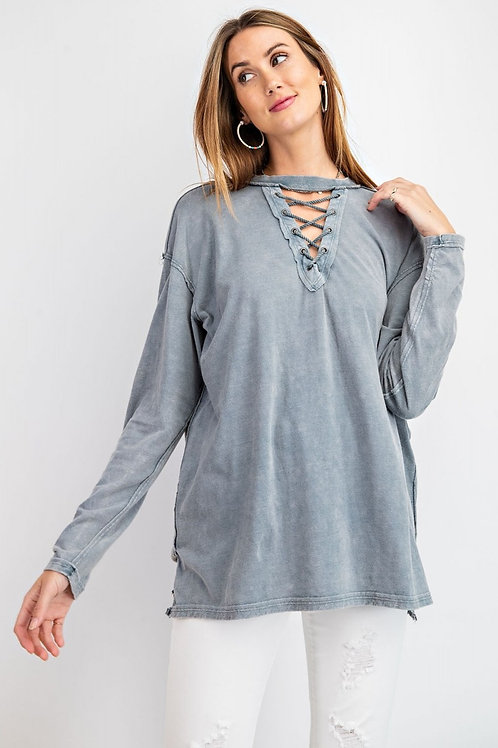 MINERAL WASHED LACED UP FRONT KNIT TOP-FADED TEAL