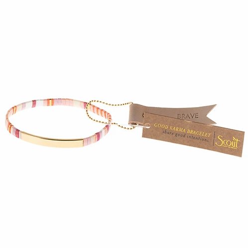 Good Karma Miyuki Bracelet | Brave - Pink Multi/Gold