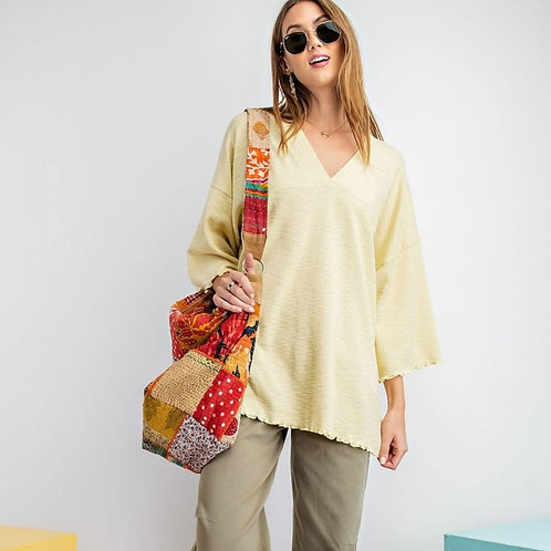 DOUBLE V NECK TOP-LEMON