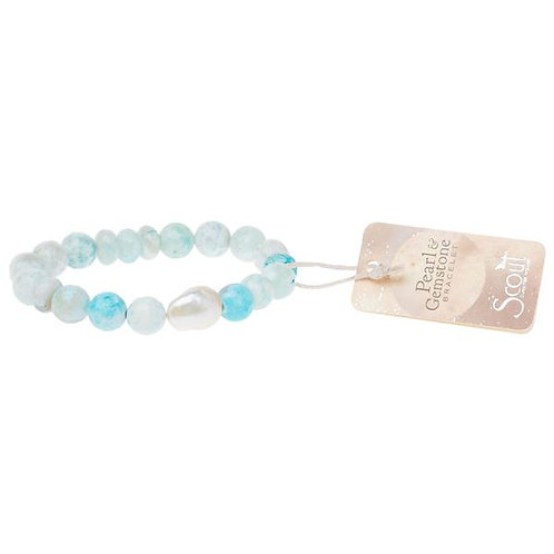 Pearl & Gemstone Bracelet - Light Blue Agate