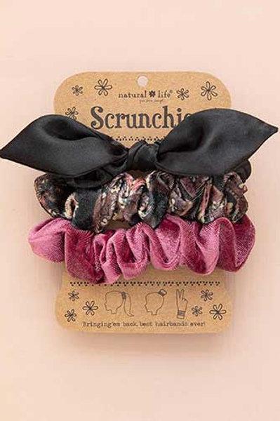 Black Bow Scrunchie Set of 3