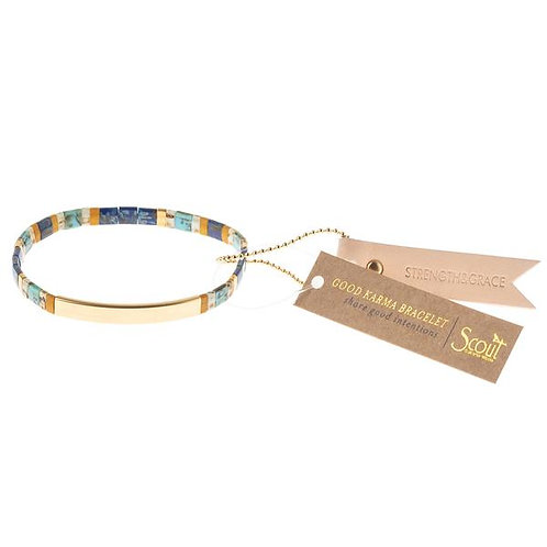Good Karma Miyuki Bracelet | Strength & Grace - Indigo/Gold